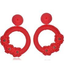 brinco le diamond liza crochê com 3 flores vermelho