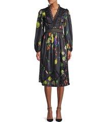 cynthia rowley women's krystal botanical print dress - black multi - size 0