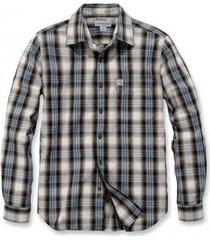 carhartt blouse men l/s essential open collar shirt plaid steel blue-m