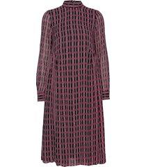 printed georgette jurk knielengte rood ganni
