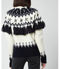 golden goose women's deidra wool patchwork jacquard sweater - multi - l