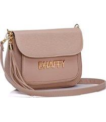 bolsa dhaffy bolsas com bolso na frente bege