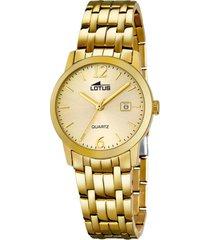 reloj acero clasico dorado lotus