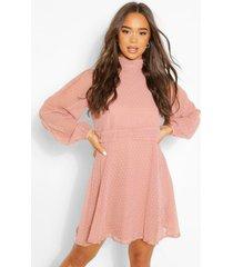 dobby mesh high neck pleat detail skater dress, blush