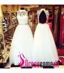 ball gown prom dress,high neck prom dress,white evening dress,tulle party dress