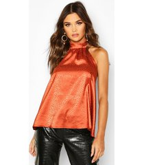hammered satin halter neck top, orange