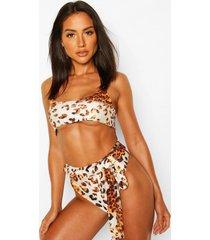 ombre leopard high waist crop bikini, brown