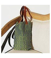 leather accent cotton tote, 'spring morning' (mexico)