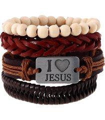 bracciale religioso i love jesus bracciale in pelle multistrato di vacchetta bianca per uomo