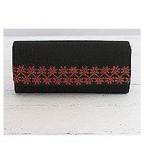embroidered clutch handbag, 'exotic onyx' (india)