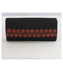 embroidered clutch handbag, 'exotic onyx' (india)