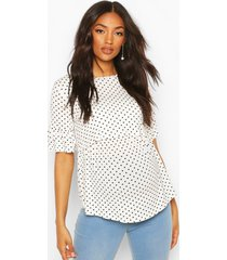 maternity nursing polka dot smock top, white