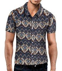 camisa tribal casual de vacaciones en la playa de verano para hombres