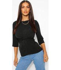geweven gedraaide blouse met driekwartsmouwen, zwart