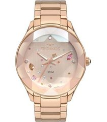 relógio technos elegance crystal 2039ca/4t 41mm aço feminino