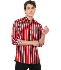 camisa los caballeros manga larga rayas rojas, negras y blancas spandex