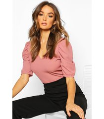 v neck puff sleeve rib top, rose