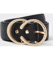 river island womens black quilted strap double ring belt