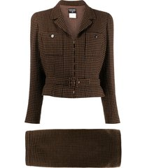 chanel pre-owned 1998 checked skirt suit - brown