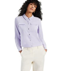 alfani pocket button-front top, created for macy's