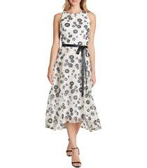tahari asl embroidered-floral midi dress