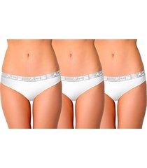 aqs women's 3-pack stretch-cotton bikini panties - white - size xl
