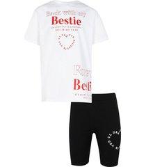 river island womens age 13+ girls white 'bestie' t-shirt set