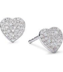 diana m jewels women's 14k white gold & diamond stud earrings