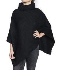 poncho cuello alpaca negro humana