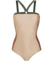 adriana degreas panelled swimsuit - neutrals