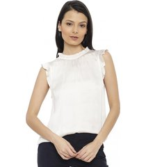 blusa ruffle neck top solids blanco banana republic