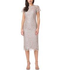 js collections metallic lace sheath dress