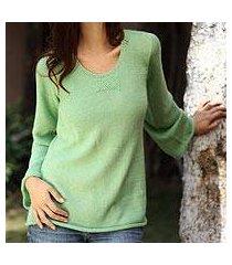 alpaca blend sweater, 'mint charisma' (peru)