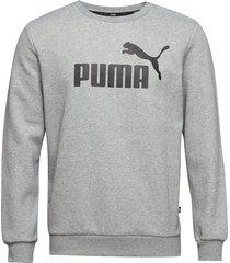 ess logo crew sweat fl big logo sweat-shirt tröja grå puma
