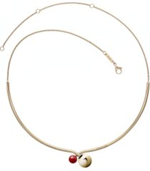 calvin klein bubbly stainless steel and pvd champagne gold red coral stone choker necklace