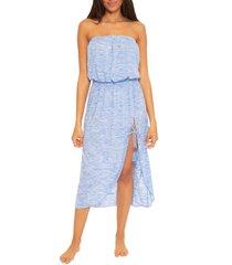 women's becca whisper smocked waist strapless cover-up dress, size small - blue