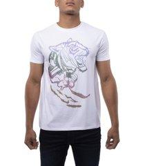 men's rainbow tiger rhinestone short sleeve t-shirt