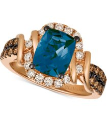 le vian chocolate & nude deep sea blue topaz (2-1/10 ct. t.w.) & diamond (5/8 ct. t.w.) ring in 14k rose gold