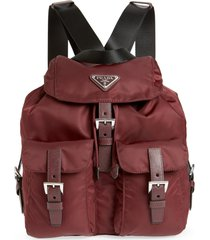 prada medium nylon backpack - burgundy