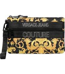 versace jeans couture logo-print pouch - black