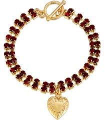 2028 rhinestone heart charm toggle bracelet