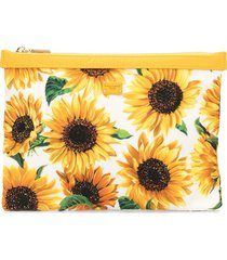 dolce & gabbana flat sunflower wallet - white