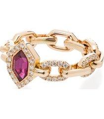 o thongthai 14kt yellow gold ruby diamond chain ring