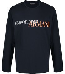 emporio armani logo print tracksuit set - blue