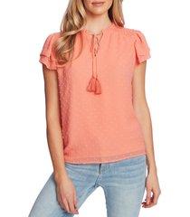 women's cece clip dot flutter sleeve split neck top, size xx-large - coral