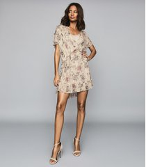 reiss blythe - floral printed mini dress in nude, womens, size 14