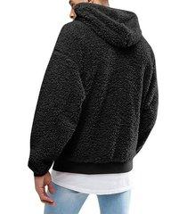 sudaderas con capucha de lana sintética manga larga para hombres-negro
