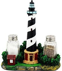ebros scenic cape hatteras lighthouse salt and pepper shakers holder figurine 8""