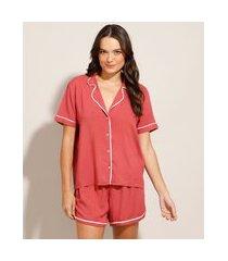 pijama manga curta camisa de viscose com vivo contrastante rosa escuro