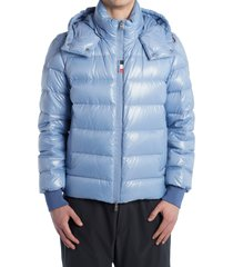 moncler cuvellier water resistant down puffer jacket, size 4 in ice blue at nordstrom